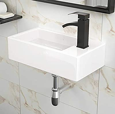 Wall Mount Small Bathroom Vessel Sink- Beslend Rectangle Mini Vanity Bathroom Corner Sink with Single Faucet Hole White Porcelain Ceramic Art Basin,Right Hand