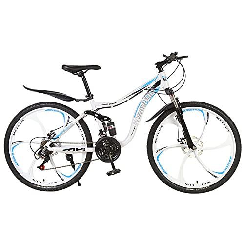 21/24/27 Velocidad Bicicleta Campo Traviesa Adultos Freno Doble Disco SuspensióN Completa Bicicleta Deportiva para Exteriores Bicicleta MontañA De 24/26'Marco Acero Alto Carbono