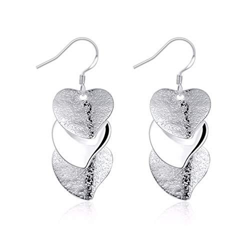 Qingsun signora ragazza argento orecchini orecchini a forma di cuore 2017moda (1Coppia)