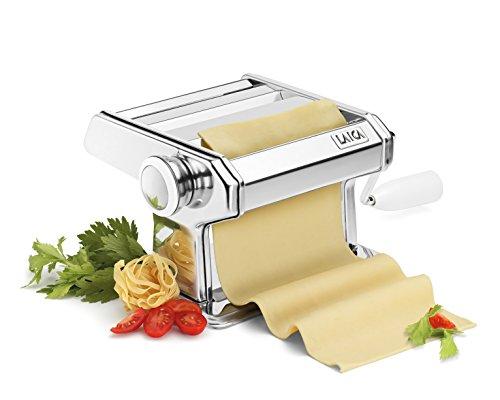 Máquina para hacer pasta Laica PM0500 en acero inoxidable, incluye manivela y pinza de sujección. Rueda con 7 ajustes. Se le puede añadir motor.