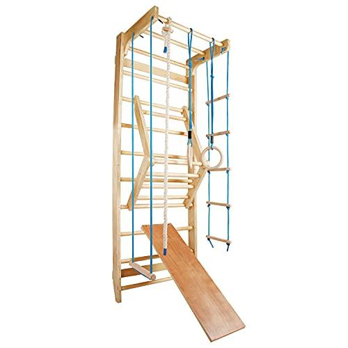 CCLIFE Sprossenwand Turnwand Gym Klettergerüst Holz Sportgerät Kletterwand mit Stange Fitness Kinder Erwachsener, Farbe:Blau