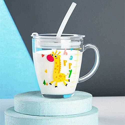 Taza para niños con pajita de silicona transparente de 300 ml con escalera, asa de agua, diseño animado impreso con una tapa antifugas, taza para niños