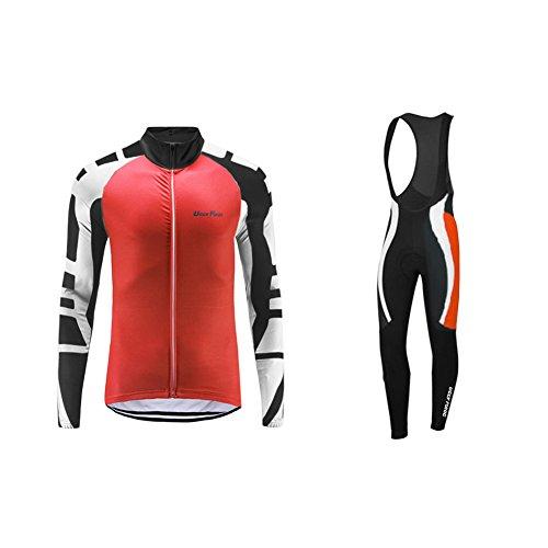 UGLY FROG Ciclismo Maillots Chaquetas Hombre para Winter Contraviento+Pantalones de Acolchado 3D para Hombres de Invierno Conjunto de Ropa de Ciclismo de Lana Térmica