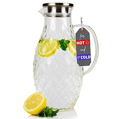 Large Glass Pitcher with Lid and Spout - 100 Ounces Big Cold and Hot Water Carafe with Unique Glass Diamond Pattern, Beverage and Water Pitcher for Homemade Iced Tea and Juice.