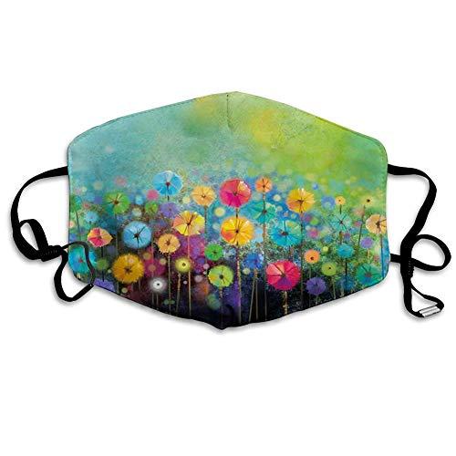 Komfortable Winddichte Maske, Blume, Löwenzahn im Garten mit Pinselstrichen Aquarell abstrakte Landschaftskunst, grün gelb