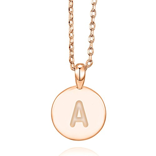 PAVOI 14K Rose Gold Plated Letter Necklace for Women | Gold Initial Necklace for Girls | Letter A