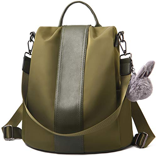 Barwell Women Backpack Ladies Rucksack Waterproof Nylon School bags Anti-theft Dayback Shoulder Bags, Olive