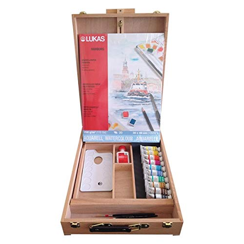 Lukas Aquarell 1862 Artist Watercolor Deluxe French Easel Box Set, Professional Quality Kit Includes an Easel for Painting, Color Mixing Palette, and 2 Water Color Paintbrushes, 10 x 24 ml Tubes