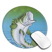 魚 マウスパッド 丸型 20cm 滑り止め 防水 おしゃれ 洗える ビジネス用 家庭用 ゲーム用