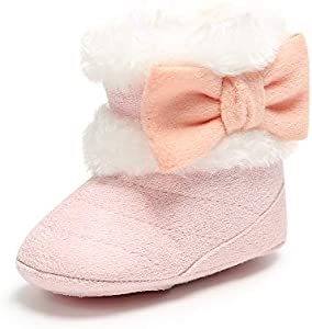 LACOFIA Botas de Invierno para bebé Patucos Antideslizante de Suela Suave cálida para bebé niñas Rosa 12-18 Meses