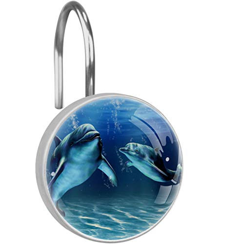 LORVIES Dolphins Shower Curtain Hooks Set of 12, Stainless Steel Shower Hooks Decorative Hanger Rings Rust Resistant for Bathroom Kids Room Fashion Home Decor