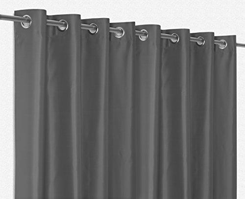 Gardinen - Vorhänge Ösenvorhang Blickdicht, Verdunkelungsgardine bügelfrei 300x245 cm Farbe wählbar, Dunkelgrau