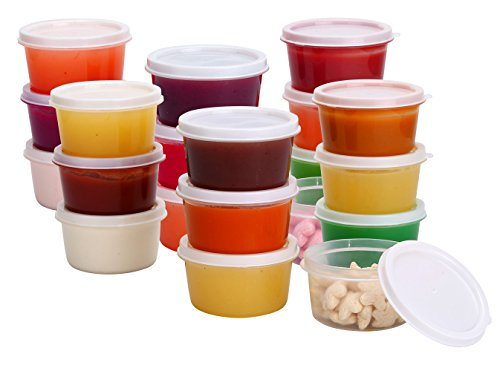 Greenco Mini Food Storage Containers, Condiment, and Sauce Containers, Baby Food Storage and Lunch Boxes, Leak-resistant, 2.3 oz Each, Round Containers, Set of 20