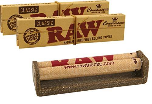 yaoviz® Set Raw Ecoplastic KingSize Drehmaschine 110mm aus Hanfplastik + 2 RAW Connoisseur KS Papers + Tips