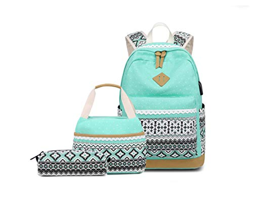 Bansusu 3Pcs Ethnic Style Womens Canvas Casual School Bag Daypack Polka Dot Girls Backpack and Lunch Bag Set with USB Charger