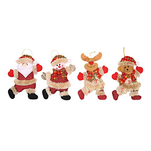 BESTOYARD Weihnachtspuppe Anhänger mit Weihnachtsmann Schneemann Elk Bear Weihnachtsbaum Fenster Kamin Dekorationen Party Supplies Supplies 4 STÜCKE