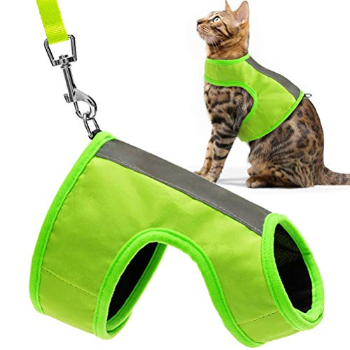 EXPAWLORER Reflective Cat Jacket Harness with Leash Set for Walking, Safety Soft Nylon Adjustable Vest for Pet Small Dogs Fluorescent Green Medium