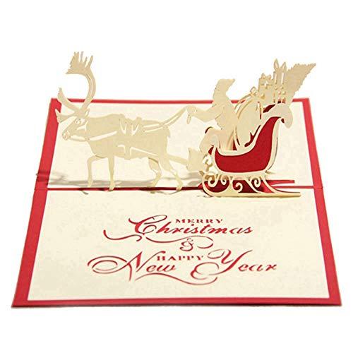 JKGHK Christmas Cards 3D Christmas Santa Claus Greeting Cards Xmas Gifts Christmas Deer Cart 3Pcs