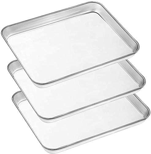 AIKKIL Hoja de sartenes para hornear, 3 hojas grandes galletas acero inoxidable horno tostador, bandeja Umite Chef no tóxica, acabado espejo, fácil limpiar, apto lavavajillas (40,6 x 30,5 2,5 cm)