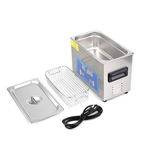 Beheizter Ultraschallreiniger für die Edelstahlindustrie (4,5 l) mit Heizungs-Timer und integriertem Wandler für die Schmuckreinigung (Silber)