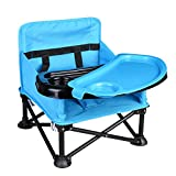 Travel Booster Seat & Activity Chair Folding Portable High Chair for Eating Dining, Camping, Park, Beach or Grandma Use , 2 Oversized Removable Tray with Cup Holder for 6-36 Months Baby (Blue))