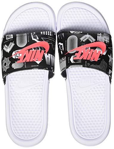 Nike Benassi JDI Print, Sandal Hombre, White/University Red-Black, 41 EU