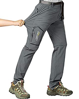 Asfixiado Womens Hiking Convertible Outdoor Lightweight Quick Drying Moisture Wicking Stretch Pants #5818 Dark Grey-26