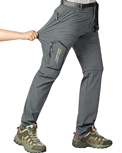 Mens Hiking Stretch Pants Convertible Quick Dry Lightweight Zip Off Outdoor Travel Safari Pants (818 Dark Grey 42)