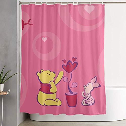 LIUYAN Duschvorhang mit Haken – De Winnie Pooh Wasserdichter Polyester-Stoff Badezimmer-Dekoration 152,4 x 182,9 cm