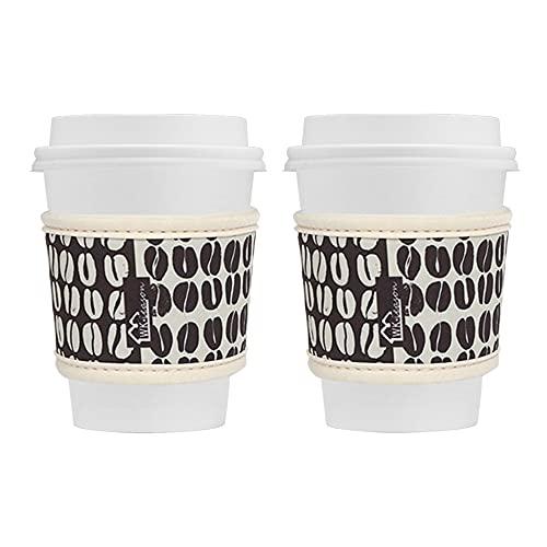 WK IEASON Wiederverwendbare Thermohüllen für heiße Kaffeetassen, Neopren, für heiße Kaffee und Tee, wiederverwendbar, 473 - 680 ml, für Starbucks Kaffee, McDonalds, Dunkin Donuts, mehr (Kaffeebohnen)