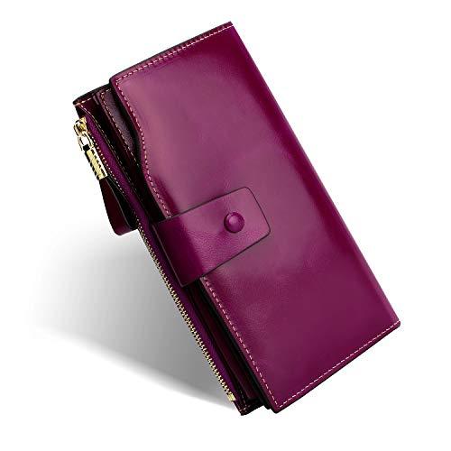 MinYuocom Monedero De Cuero Con Bloqueo RFID Monedero De Cuero Genuino Con Bolsillo Con Cremallera FMQB2083V