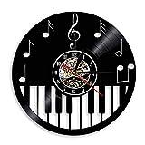 Enofvd Teclado de Piano Disco de Vinilo Reloj de Pared partitura Piano Clave de Sol Nota Reloj de Pared decoración de la Sala de música Reloj de Pared Regalo de músico 12 Pulgadas