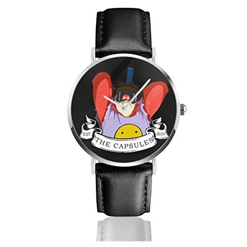 Akira The Capsules Vs Clowns - Reloj de Pulsera Unisex (Cuarzo, Correa de Piel Negra, Regalo para Hombres y Mujeres)