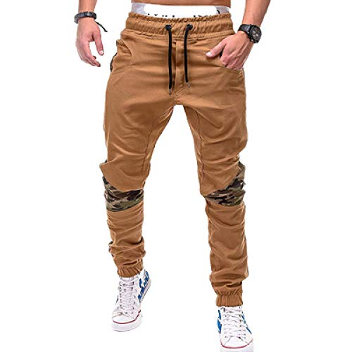 Pantalones Deportivos de Cintura elstica con cordn para Hombre, Pantalones Informales de Tendencia de Personalidad con Estampado de Camuflaje con Costura de Retazos Large
