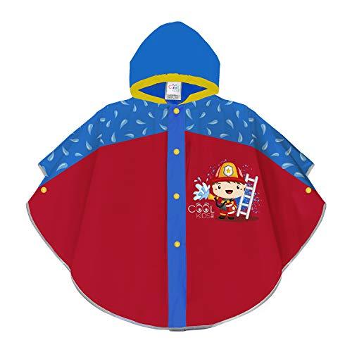 PERLETTI Kinder Regen Poncho Rot Blau Reflektierend - Feuerwehr Regenmantel Kleinkind Kindergarten 3/6 Jahre - Regencape Kleine Jungen Mädchen mit Gelben Details Cool Kids (Feuerwehrmann, 3-6 Jahre)