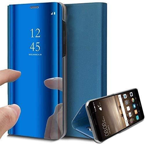 Caler Case Compatible con Xiaomi MI A2 / Mi 6X Funda Cuero PU Espejo Brillante Clear View Modelo Fecha Duro Cover Flip Tapa Libro Soporte Plegable Ventana de Espejo Transparente Carcasa(Azul)