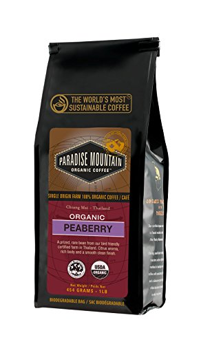 Paradise Mountain Organic Coffee, Thailand Peaberry, USDA Certified Organic, Direct Trade, Whole Bean Coffee 16oz