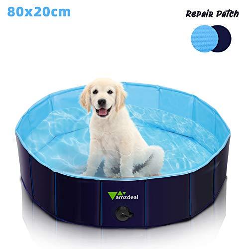 amzdeal Piscina para Perros - Bañera Plegable para Mascotas, Piscina Grande Resistente y Estable, PVC Antideslizante, Múltiples Usos para Mascotas y Niños φ80x20 cm