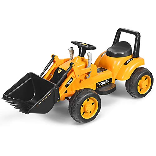 Costzon Kids Ride On Excavator, 6V Battery Powered Construction Tractor w/ Horn, Controllable Digging Bucket, Moving Forward/Backward Gear, Electric Front Loader Digger (Yellow)