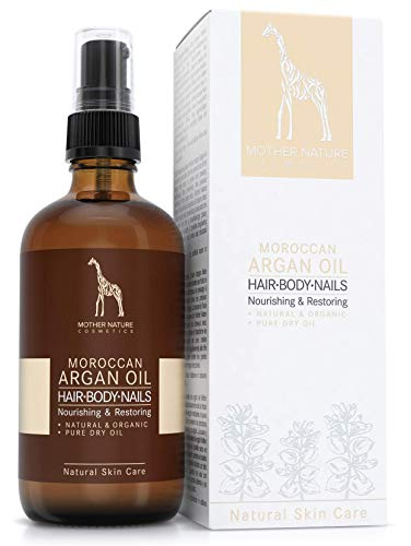 Huile d'argan biologique - COSMÉTIQUE VÉGAN NATUREL - 100 ml by Mother Nature Cosmetics - pressée à froid à partir de noix d'argan cueillies à la main - pour les cheveux, la peau et les ongles