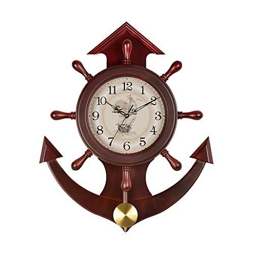 Reloj de péndulo de Pared clásico Reloj de Pared de timón de Barco silencioso Creativo Calidad de durazno Marco de Madera (marrón) (Color : B)