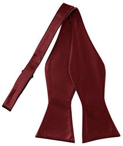 Helido Fliege für Herren zum selber-binden, 100% Seide, schwarze, bordeaux-rote u. dunkelblaue Schleifen passend zu Hemd und Anzug oder Smoking + Geschenkbox (Bordeaux)
