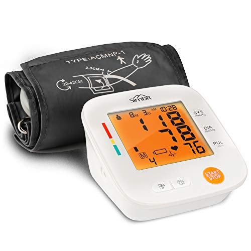 SIMBR Tensiómetro de Brazo Digital, Monitor de Tensión Arterial con Memorias de 2x90 Mediciones y Gran Pantalla LED, Deteccion de Irregular Arritmia, Brazalete 22-42cm