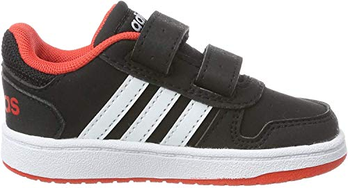 adidas Unisex Baby Hoops 2.0 Sneaker, Schwarz (Core Black/Footwear White/Hi-Res Red 0), 21 EU