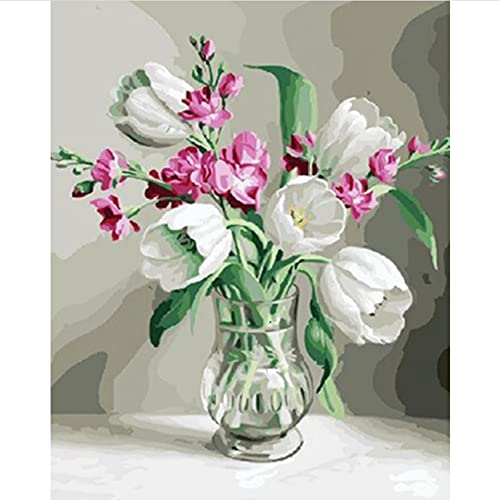 Pintura al óleo de bricolaje por números para adultos Flores Pintar por Números Niños Decoración del Hogar(40*50cm, con marco)