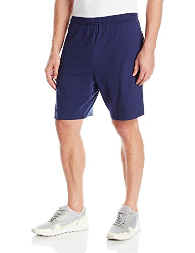 Hanes Men's Jersey Short with Pockets, Navy, X-Large