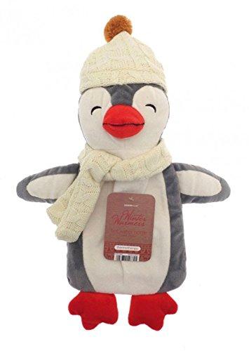 Wärmflasche mit Einhorn Mops Pinguin Affe Plüsch Super Soft Cover Premium Naturkautschuk 1 Liter Hot Water Bag - hilft Wärme und Komfort zu bieten (Hellgrauer Pinguin)