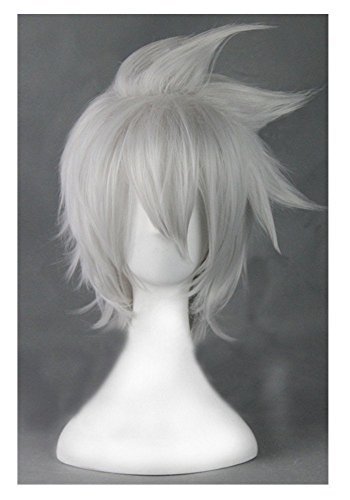 COSPLAZA Cosplay Wig Male Silver White Short Spiky Halloween Hair (Grey)