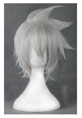COSPLAZA Perücke Cosplay Wig Soul Eater Evan Silber Weiß kurz Spiky Halloween Fasching Haar