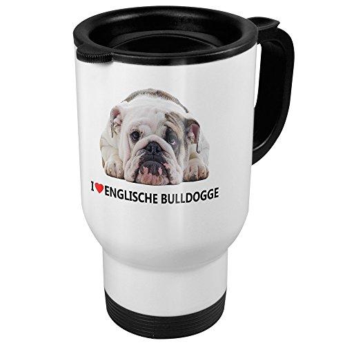 printplanet Thermobecher mit Hunderasse Englische Bulldogge - Coffee to Go Becher, Thermo-Tasse, Farbe Weiß